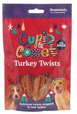 Rosewood Christmas Turkey Twists Rawhide Dog Treats, 8 pack, 85g