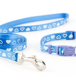 Ancol Small Bite Heart Collar & Lead Set in Blue