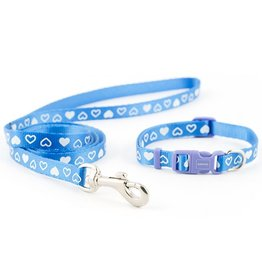 Ancol Small Bite Heart Collar & Lead Set in Blue