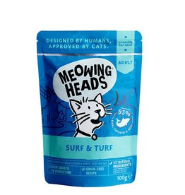 Meowing Heads Surf & Turf Fish, Chicken & Beef Adult Cat Wet Food, 100g