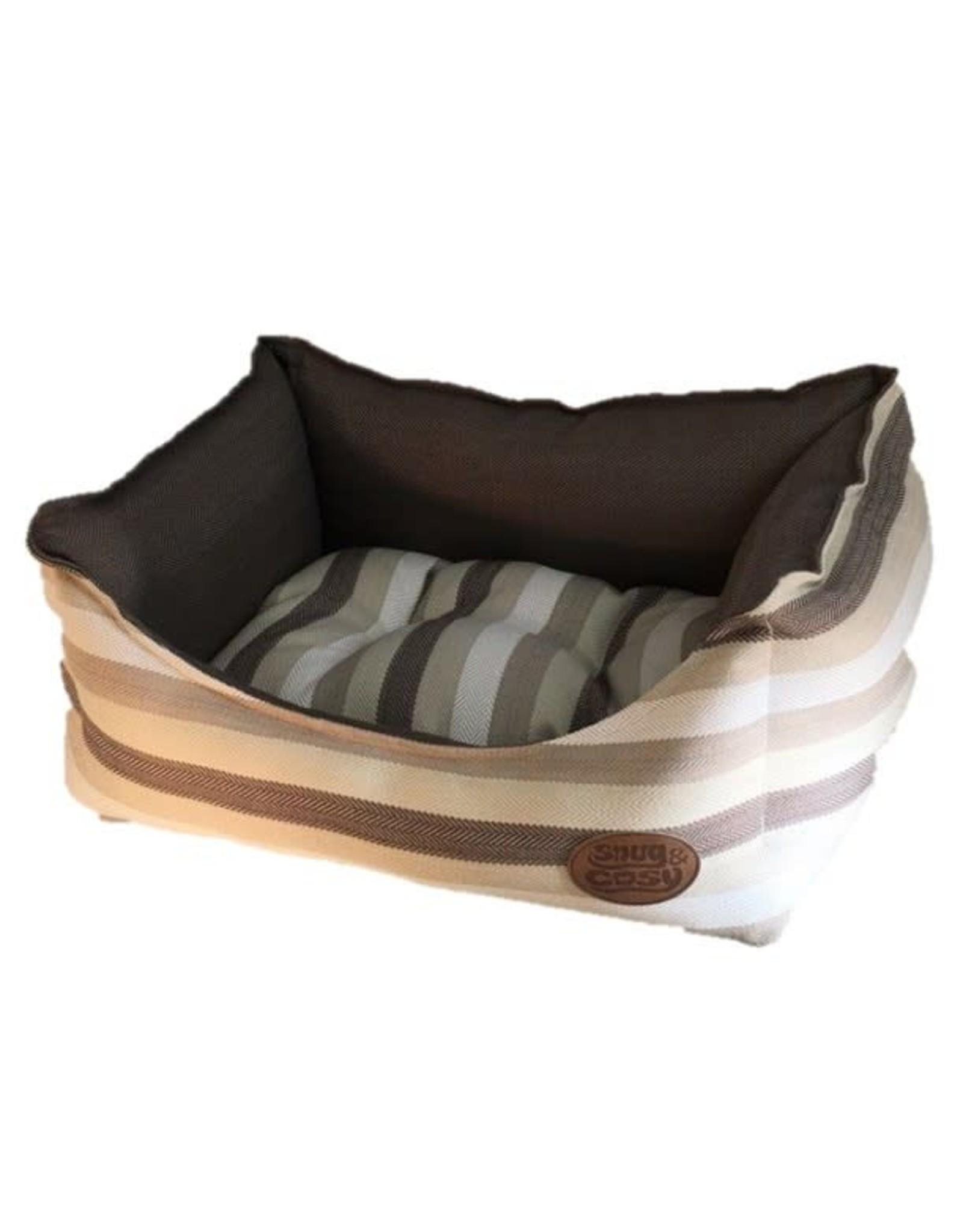 Snug & Cosy Brown Stripe Pet Bed
