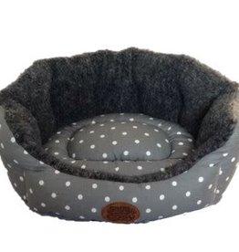 Snug & Cosy Grey Polka Dotty Oval Dog Bed