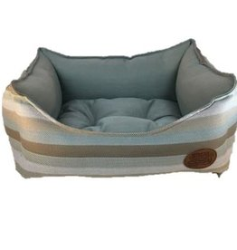 Snug & Cosy Light Blue Stripe Square Dog Bed