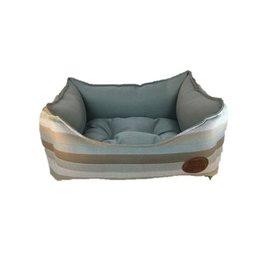 Snug & Cosy Light Blue Stripe Square Dog Bed