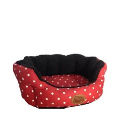 Snug & Cosy Red Polka Dotty Oval Dog Bed