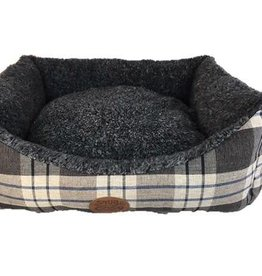 Snug & Cosy Kensington Check Grey Dog Bed