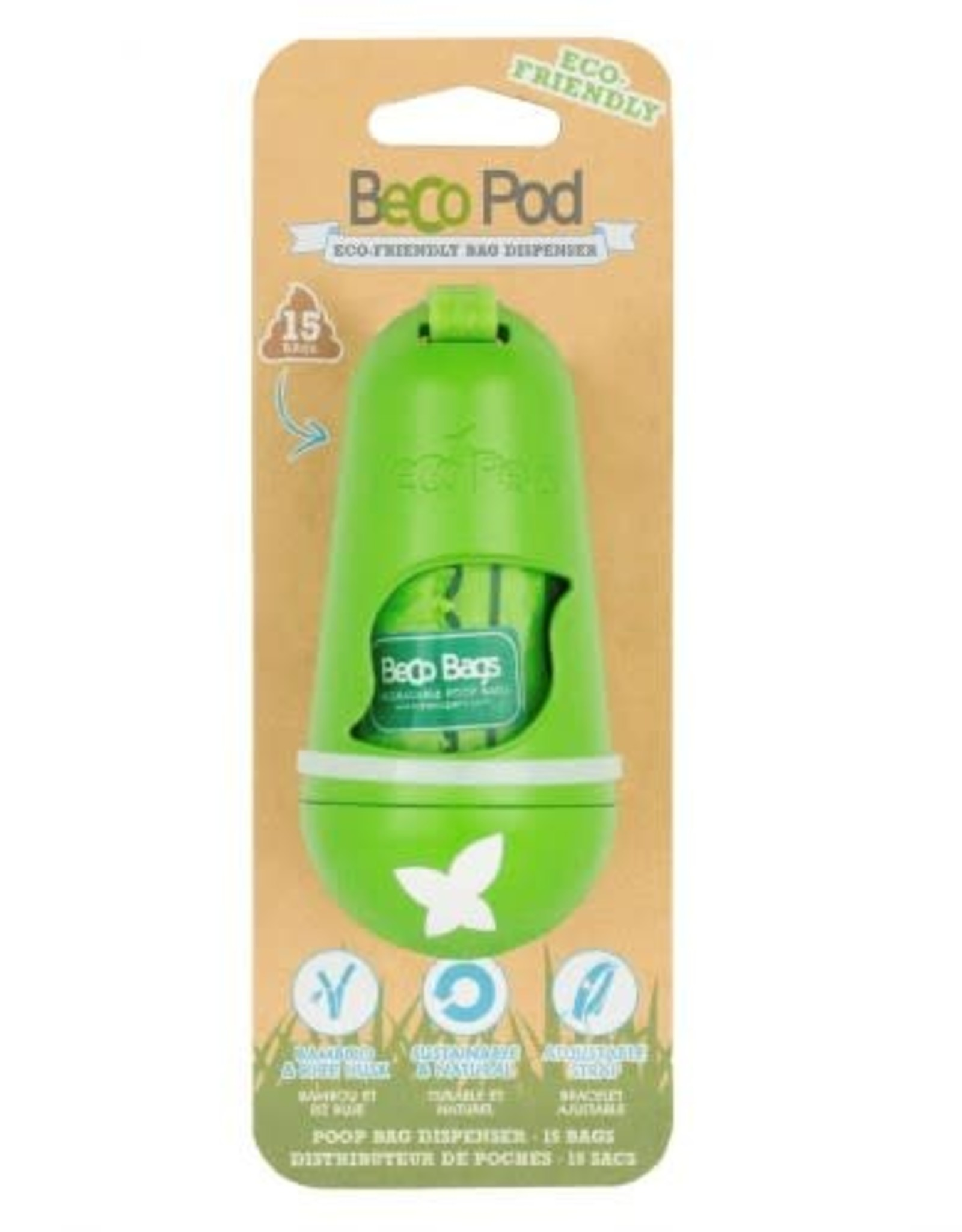 Beco Eco-Friendly Bamboo Pod Poop Bag Dispenser, Green