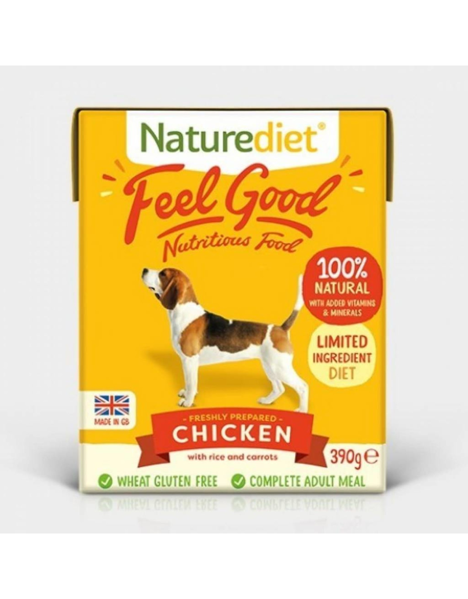 Naturediet Case of Feel Good Adult Dog Wet Food, Chicken, 18 x 390g