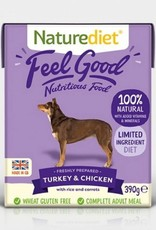 Naturediet Case of Feel Good Wet Dog food, Turkey & Chicken 18 x 390g