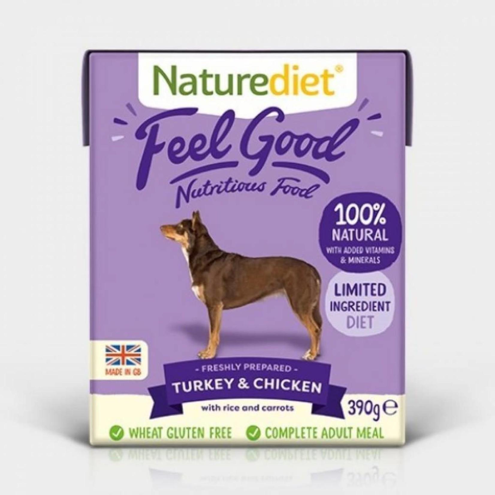 Naturediet Case of Feel Good Adult Dog Wet Food, Turkey & Chicken, 18 x 390g