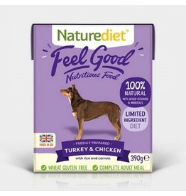 Naturediet Case of Feel Good Adult Dog Wet Food, Turkey & Chicken, 18 x 390g