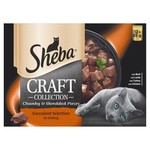 Sheba Craft Collection Chunky & Shredded Pieces Adult Cat Wet Food Pouch Succulent Selection in Gravy, 12 x 85g