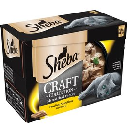 Sheba Craft Collection Shredded Pieces Adult Cat Wet Food Pouch Poultry Selection in Gravy, 12 x 85g