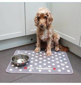Pet Rebellion Dinner Mate Large Absorbent Pet Food Mat, Dotty Grey 40x60cm
