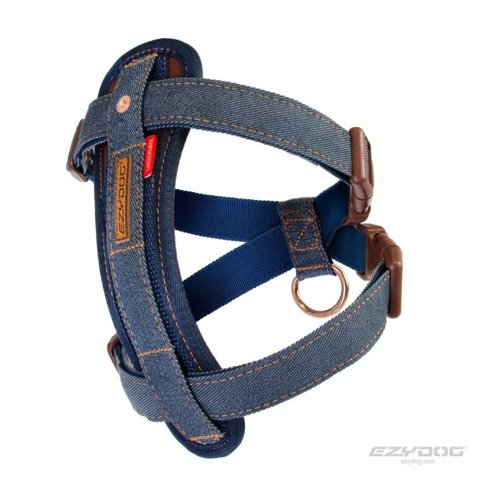 EzyDog Chest Plate Dog Harness with Seat Belt Loop, Denim