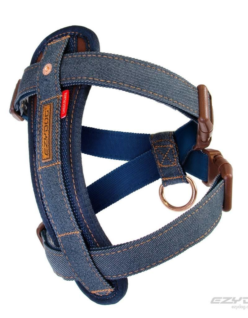 EzyDog Chest Plate Harness with Seat Belt Loop, Denim