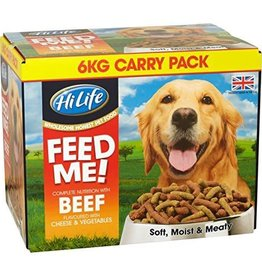 HiLife Complete Feed Me Moist Mince Dog Food in Beef, 6kg