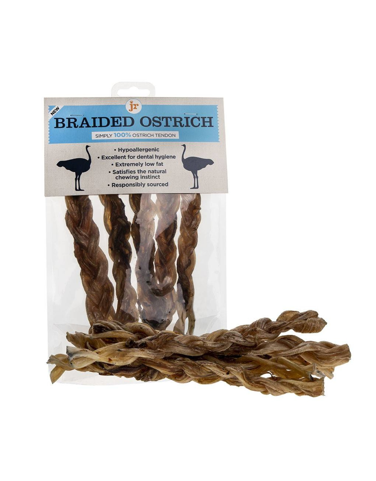 jr pet products Braided Ostrich Meat Tendon Twisters Dog Treats (single 25g)