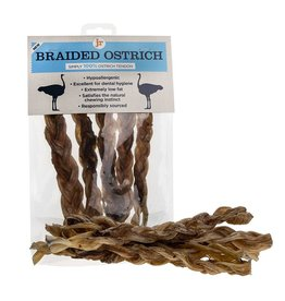 jr pet products Braided Ostrich Meat Tendon Twisters Dog Treats, 5 pack