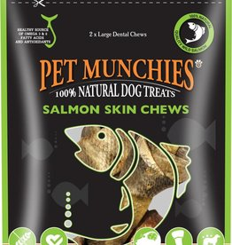 Pet Munchies 100% Natural Dog Treats Salmon Skin Chews Large 125g