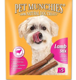 Pet Munchies 100% Natural Dog Treats, Lamb Stix 50g