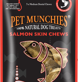 Pet Munchies Salmon Skin Chews 100% Natural Dog Treats, 90g