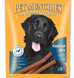 Pet Munchies 100% Natural Dog Treats, Venison Stix 50g