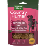 natures menu Country Hunter Superfood Bar Salmon & White Fish with Cranberries & Kelp Dog Treats, 100g