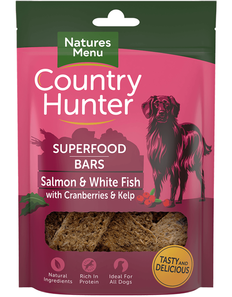 natures menu Country Hunter Superfood Bar Salmon & White Fish with Cranberries & Kelp Dog Snack 100g