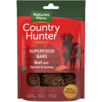 natures menu Country Hunter Superfood Bar Beef with Spinach & Quinoa Dog Treats, 100g