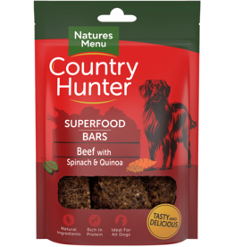 natures menu Country Hunter Superfood Bar Beef with Spinach & Quinoa Dog Snack 100g