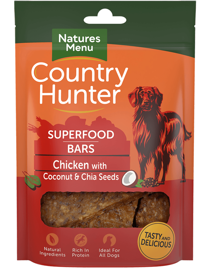 natures menu Country Hunter Superfood Bar Chicken with Coconut & Chia Seeds Dog Snack 100g