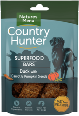 natures menu Country Hunter Superfood Bar Duck with Carrot & Pumpkin Seeds Dog Snack 100g
