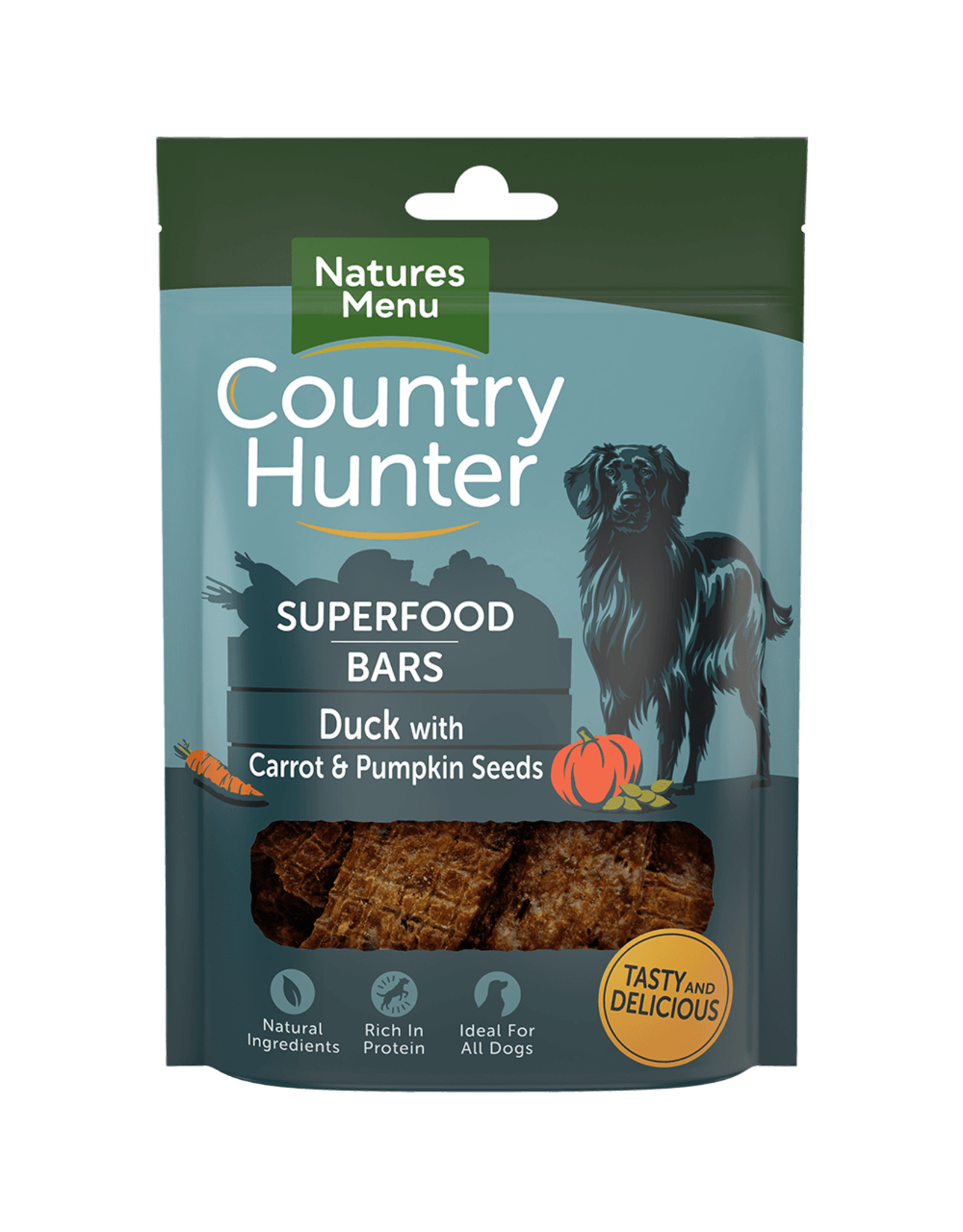natures menu Country Hunter Superfood Bar Duck with Carrot & Pumpkin Seeds Dog Treat, 100g