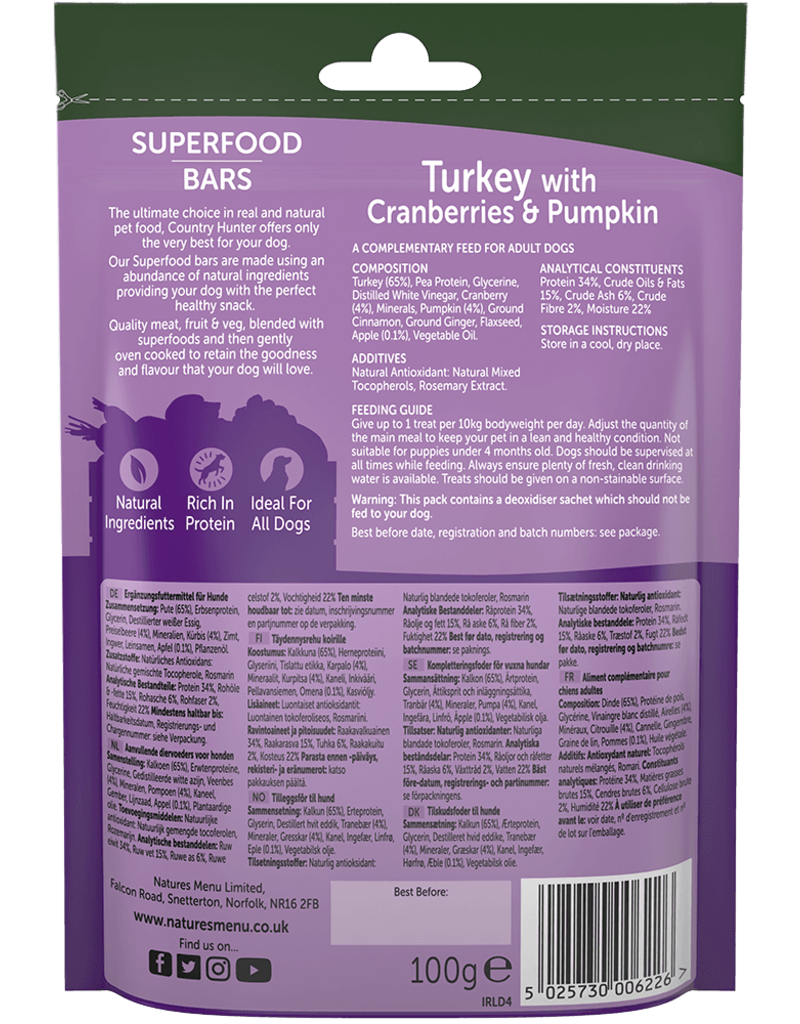 natures menu Country Hunter Superfood Bar Turkey with Cranberries & Pumpkin Dog Snack 100g