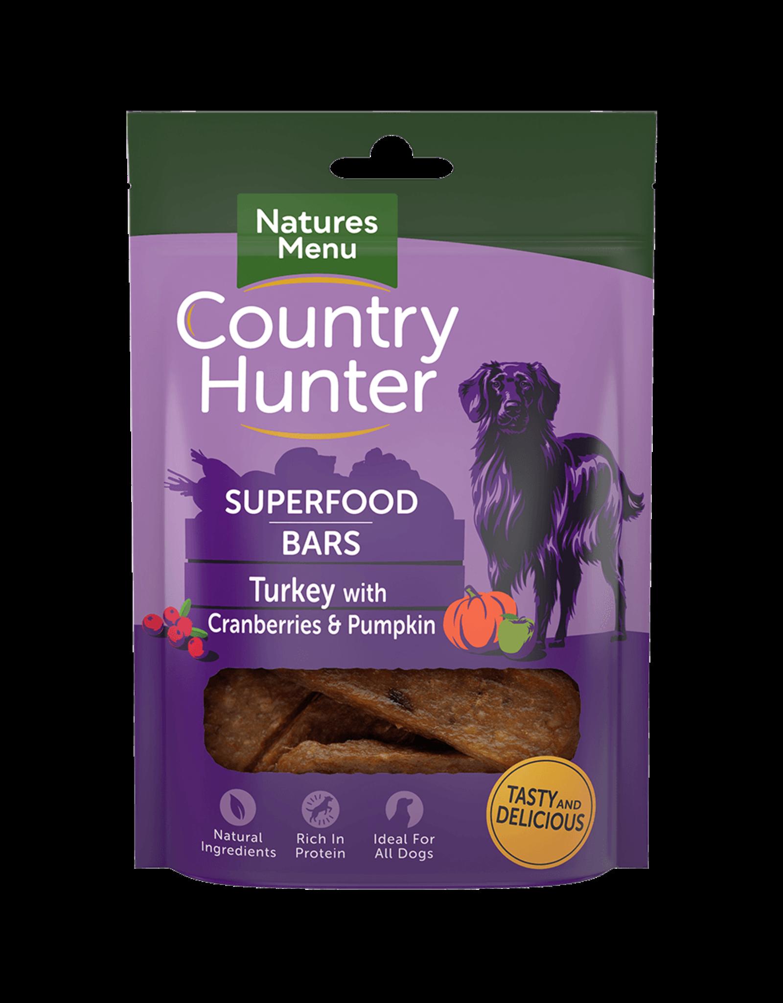 natures menu Country Hunter Superfood Bar Turkey with Cranberries & Pumpkin Dog Treat, 100g