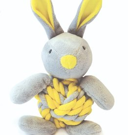 Happy Pet Little Rascals Knottie Bunny Yellow Dog Toy