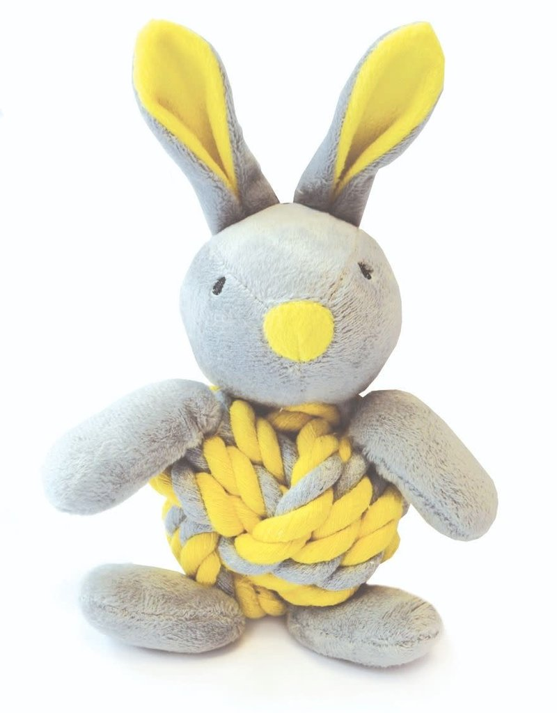 Happy Pet Little Rascals Knottie Bunny Yellow Dog Toy