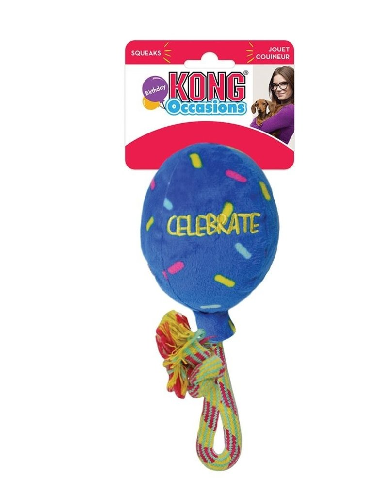KONG Occasions Blue Birthday Balloon Dog Toy, Large