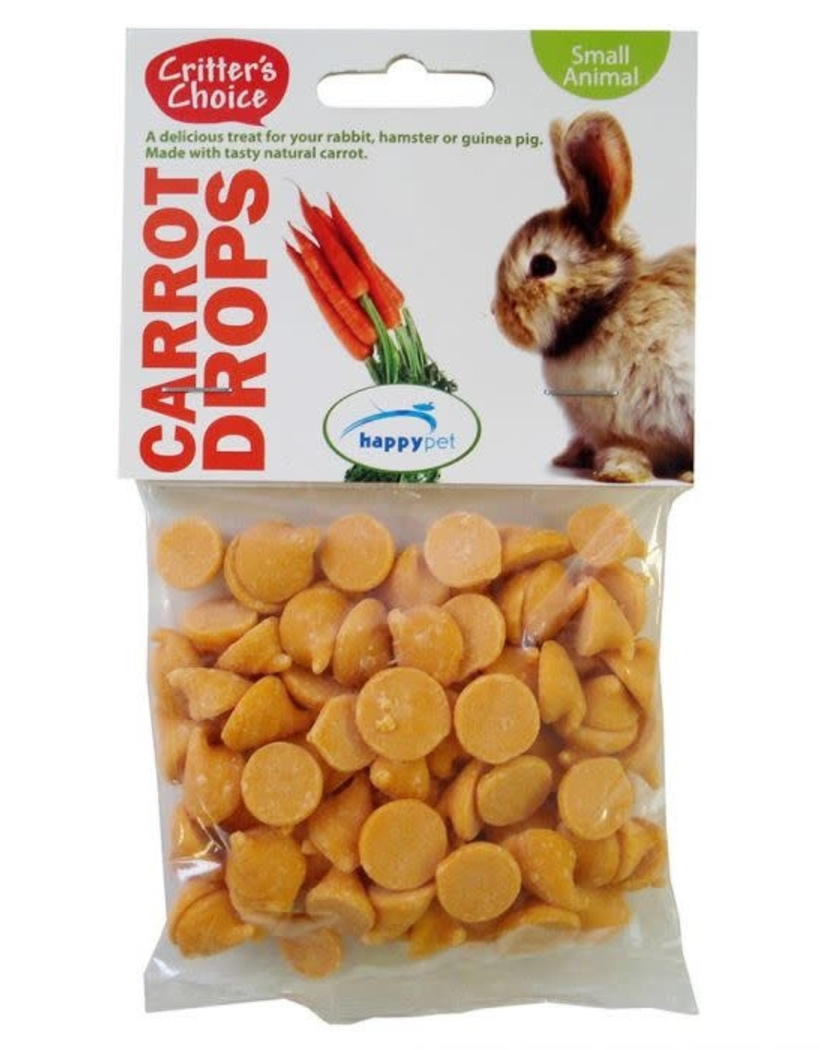 Happy Pet Critter's Choice Small Animal Carrot Drops 75g