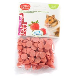 Happy Pet Critter's Choice Small Animal Raspberry & Strawberry Drops 75g