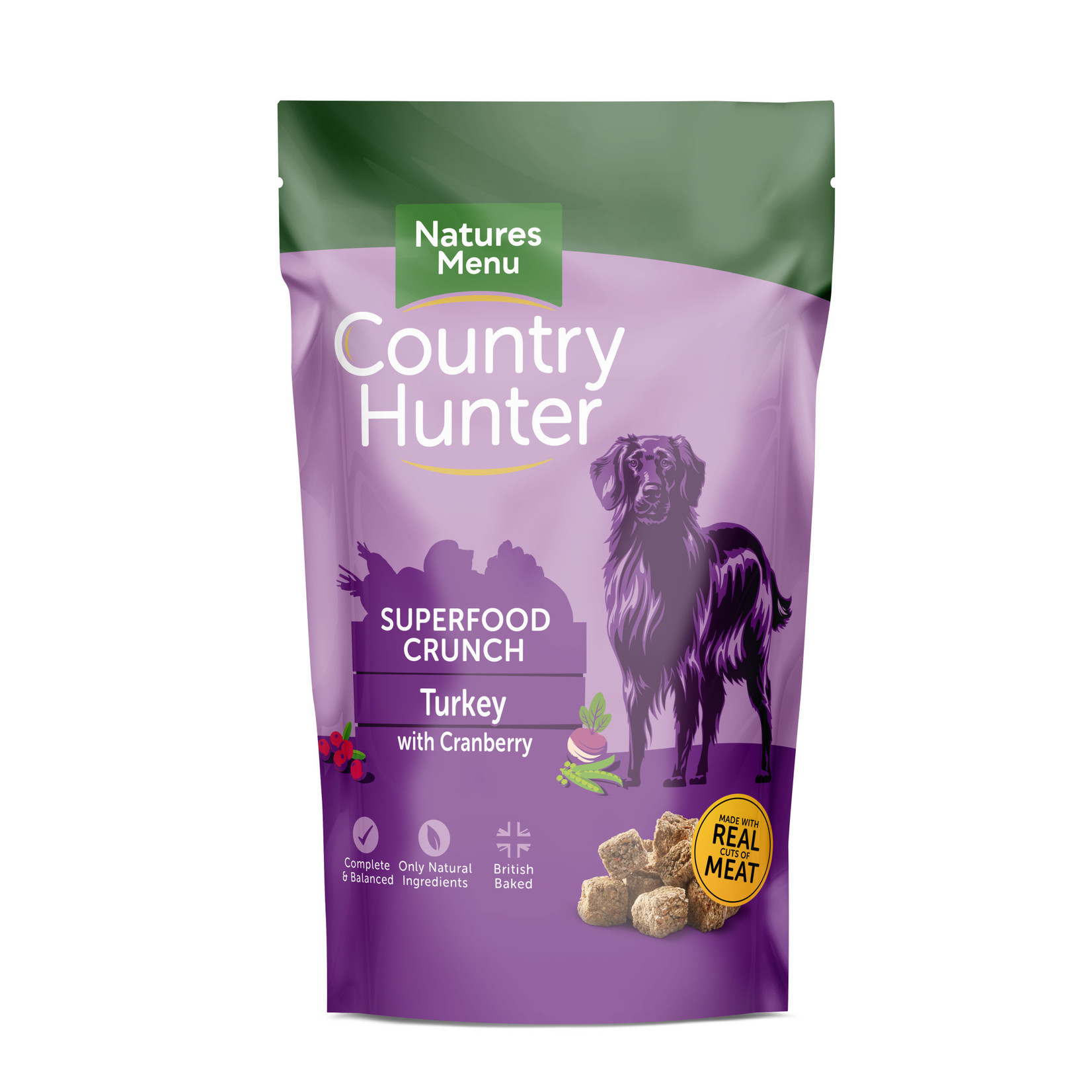 natures menu Country Hunter Superfood Crunch Adult Dog Dry Food Turkey with Cranberry, 1.2kg