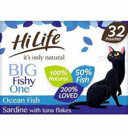 HiLife It's Only Natural Big Fishy One in Jelly Wet Cat Food Pouch, 32 x 70g
