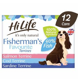 HiLife It's Only Natural Fishermans Favourite Terrines Wet Dog Food, 6 x 395g