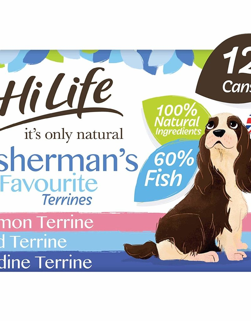 HiLife It's Only Natural Fishermans Favourite Terrines Wet Dog Food 6 x 395g