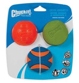 Chuckit Fetch Medley 2 Assorted Balls Dog Toy, Medium 6.5cm, 3 pack