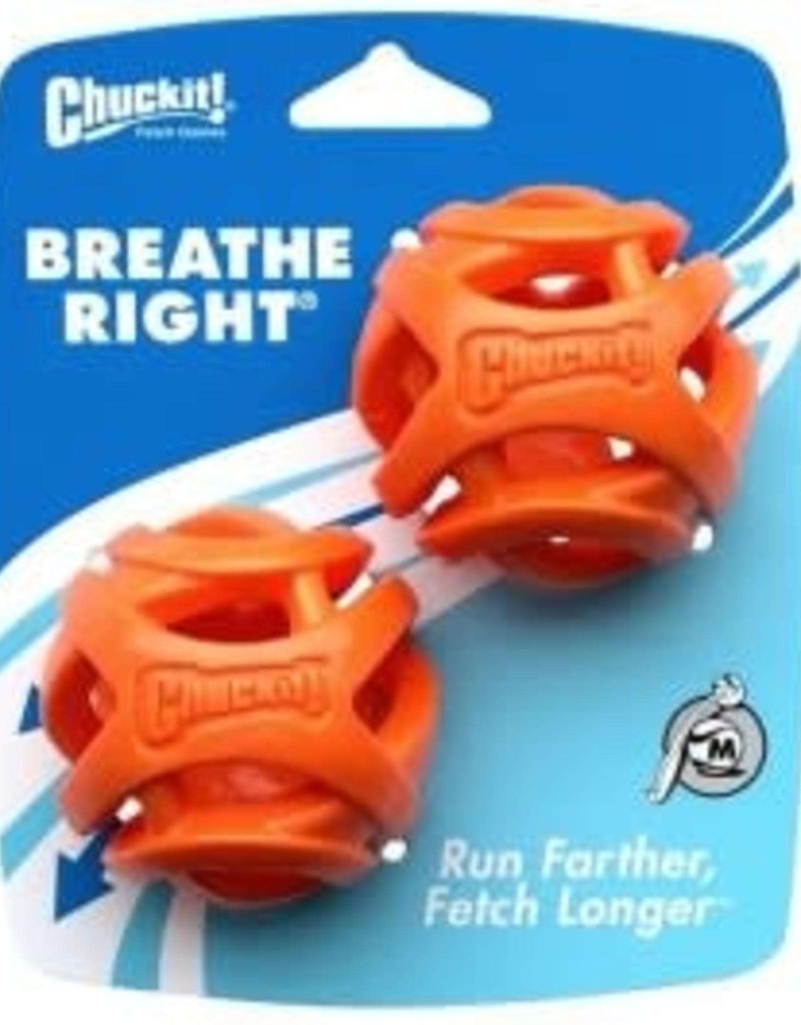 Chuckit Breathe Right Fetch Ball Dog Toy, Medium 5.5cm, 2 pack