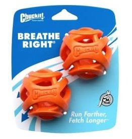 Chuckit Breathe Right Fetch Ball Dog Toy, Medium 5.5cm, 2 pack