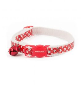 Ancol Reflective Gloss Heart Cat Collars, Red