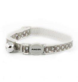 Ancol Reflective Gloss Heart Cat Collar, Silver